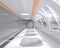 3d有窗口和外部看法的,走廊,太空飞船翻译明亮的未来派隧道 皇族释放例证