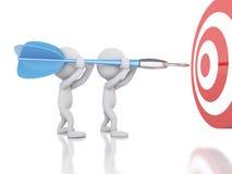 3d有箭和目标的白人 在商业的成功 免版税库存图片