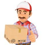 3D有箱子的送货人 图库摄影