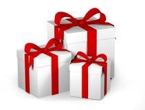 3D有红色丝带和弓的白色礼物盒 免版税库存图片