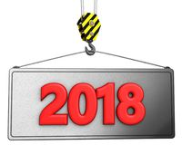 3d有红色2018标志的起重机勾子 免版税库存照片