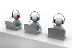 3D有耳机的人谈话在电话 免版税库存照片