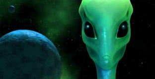 3d有行星地球的外籍人 免版税库存图片