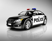 3D有警报器的警车 库存图片