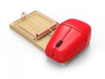 3d有计算机老鼠的捕鼠器 免版税库存照片