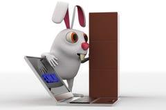 3d有许多箱子交付的和膝上型计算机的人有网上文本概念的 免版税库存图片