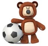3d有足球的例证滑稽的棕熊玩具 免版税图库摄影