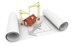 3d有轮尺和卷扬起重机的房子在建筑师blueprin 免版税库存图片