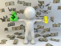 3d有金钱袋子的人 免版税库存图片