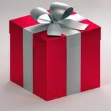 3d有银色丝带和弓的ortographic红色礼物盒 库存照片