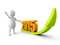 3d有长大的2015年成功箭头人 免版税库存图片