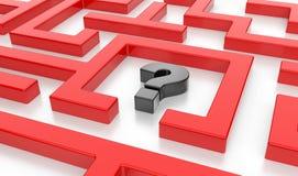 3D有问题标志的迷宫 库存图片