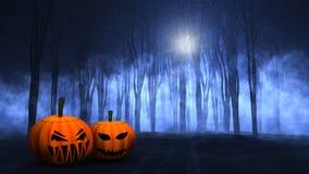 3D有雾的鬼的森林用万圣夜南瓜 向量例证