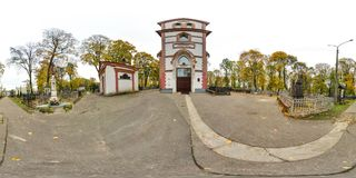3D有360视角的球状全景 为虚拟现实或VR准备 充分的equirectangular投射 老墓地 老 图库摄影