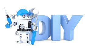 3d有DIY标志的机器人 包含裁减路线 向量例证