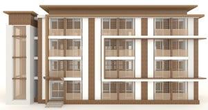3D木办公楼外部在白色 免版税库存照片