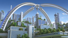3d未来派的城市 库存例证