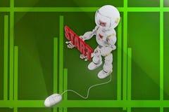 3d机器人起动例证 免版税库存照片