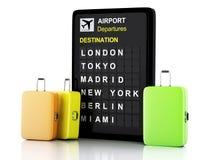 3d机场在白色背景的板和旅行手提箱 免版税库存图片