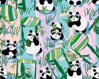 3d杯子竹熊猫嘴唇样式无缝的样式 皇族释放例证