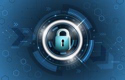 3d查出的概念使安全性空白 全球性安全技术背景 闭合的挂锁、闪烁、电路板和六角形形状 库存例证
