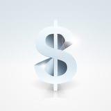 3d查出的美元高使解决方法符号空白 免版税图库摄影