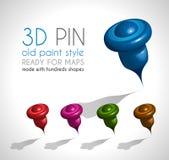 3d样式别针做了机智很多形状和在5种不同颜色。 免版税库存照片