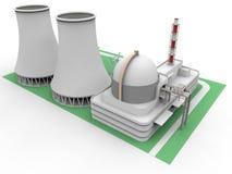 3D核电站例证 库存图片