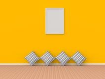 3d框架和枕头在内部 库存照片