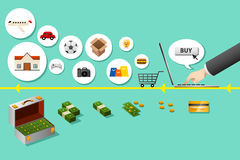 3d概念互联网回报购物 库存图片