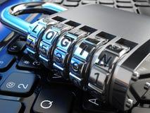 3d概念互联网翻译证券 膝上型计算机和安全锁有注册的 库存例证