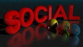 3d概念例证回报了社交 免版税图库摄影
