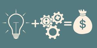 3d概念想法图象回报了 光bulb+gears=money 免版税库存照片