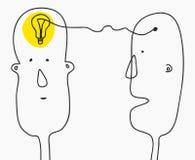 3d概念想法图象回报了 发现解答,激发灵感,创造性思为,电灯泡标志 现代乱画线型剪影 两 免版税库存照片