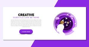 3d概念想法图象回报了 在紫色样式的创造性的模板 向量 库存例证