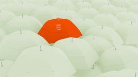 3d概念,显示独特的新年好伞, 图库摄影