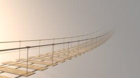 3D模糊在消失在雾的吊桥 免版税库存照片