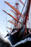 3d横向帆船日落 免版税库存图片