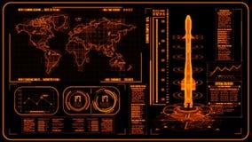 3D橙色HUD火箭接口行动图表元素