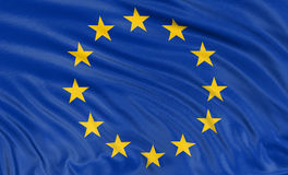 3D欧盟(包括的裁减路线的)旗子 库存图片