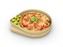 3d比萨的例证在一个纸板箱的反对白色背景,比萨交付 免版税图库摄影