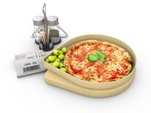 3d比萨的例证在一个纸板箱的反对白色背景,比萨交付 库存图片