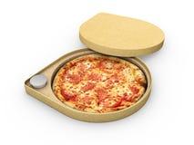 3d比萨的例证在一个纸板箱的反对白色背景,比萨交付 图库摄影