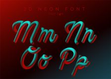3D氖带领了字体 液体铜铍被环绕的类型 被排版的霓虹泡影 向量例证