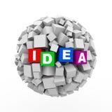 3d求箱子球形球-想法的立方 库存照片