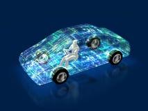 3D汽车的演变的例证 皇族释放例证