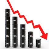 3d油桶价格下跌概念 库存例证
