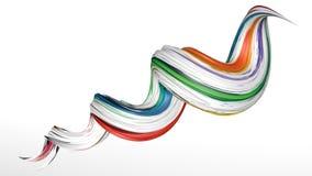 3D油漆五颜六色的抽象扭转的形状翻译  免版税库存照片