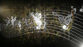 3d流动与抽象线的无缝的音乐笔记在黑色被隔绝的背景调整 皇族释放例证