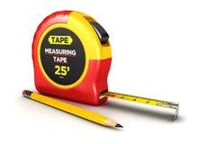 3d测量的磁带和铅笔 库存图片